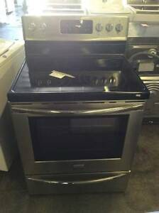 "Black/Stainless Steel 30"" Frigidaire Gallery Glass Top Stove"