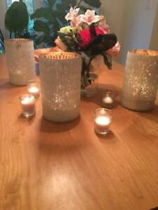Large Antique Glass Frosted White Candle Holders (Wedding)