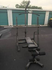 Nautilus Olympic Half Rack W/ Adjustable Bench + Accessories