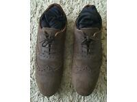 BROWN ZARA SUEDE BROGUE STYLE SHOES, SIZE 11