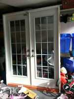 French doors with frame and hardware