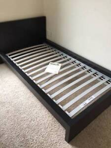 Ikea MALM Black-Brown Twin Bed and Slats, and FREE mattress