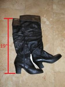 OVER THE KNEE HAND CRAFTED BORN LEATHER BOOTS, size 8