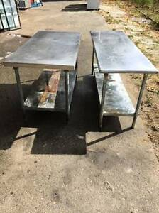 Heavy Duty Used Stainless Steel Work Tables / Food Prep Tables