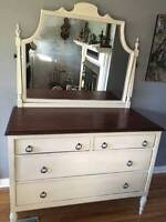 Antique Gibbard repro walnut four drawer dresser and mirror