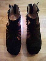 JEFFREY CAMPBELL 'Cuffed' Black Suede Spiked Booties (SZ 7.5)