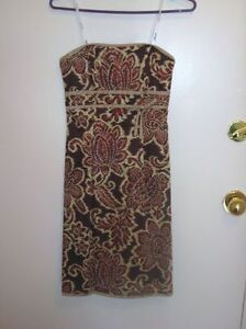 Floral Print strapless Dress (brown) - Size 2 - Never Worn