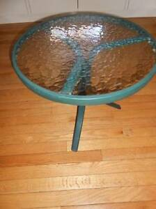 SMALL GREEN TEMPERED OUTDOOR/INDOOR GLASS TABLE