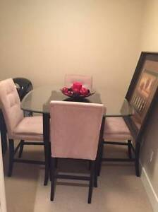 GLASSTOP DINING TABLE + 4 HIGH TOP CHAIRS & PAINTING