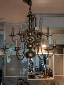 SOLID BRASS COLONIAL 12 ARM CHANDELIER/ALL ORIGINAL