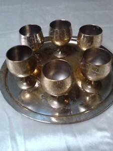 Silver plated tray w. 6 goblets