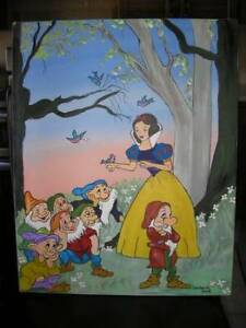 "Snow White and The Seven Dwarfs Oil Painting (16"" x 20"")one of a"