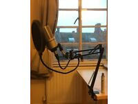 MXL Condenser Mic with Preamplifier, Boom Arm & Pop Filter