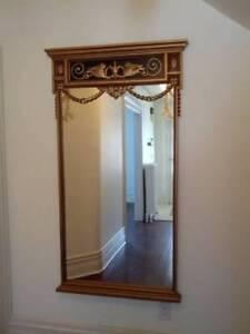 "Huge Handcarved Solid Wood Mirror 65 x 40"""