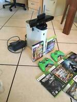 Xbox 360 with Kinect, WIFI Adapter plus 9  Excellent games