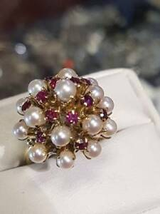 18k Gold Ring with Ruby & Pearls $425