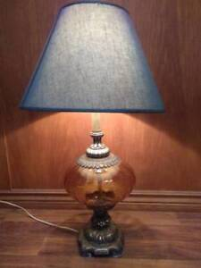 Table Lamp, glass & brass