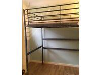 Ikea loft bed frame & mattress silver