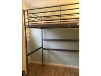Ikea silver loft bed frame and mattress
