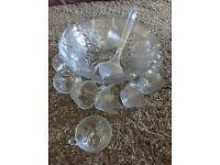 Vintage Glass Glasses Punch Bowl Set Christmas Party Wedding etc