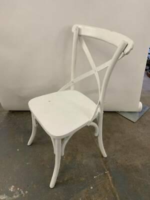 White Wood X- Back Chairs