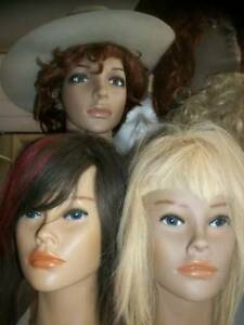 Wigs/mannequin heads with human hair and long necks (used&new)