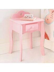 PINK BOOKCASE & BEDSIDE CABINET
