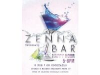 Happy Hour at Zenna Bar on September 29