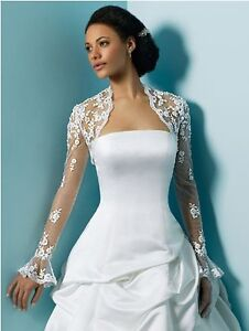 Long sleeve lace white/ivory bridal jacket bolero shrug coat for wedding dress
