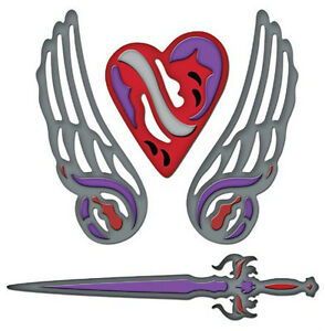 Spellbinders Shapeabilities 4-die FALLEN ANGEL wings sword -$20