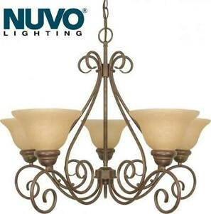 NEW NUVO CHANDELIER LIGHT 60-1023 247819414 GLASS SHADES CHAMPAGNE