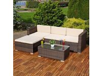 **FAST AND FREE DELIVERY** Corner Garden Conservatory Furniture Set with Coffee Table