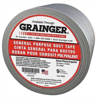 Zoro Select 26vc96 Duct Tape4 In. X 60 Yd.silver9 Mil