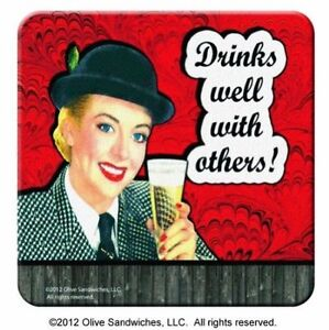 SPOONTIQUES DRINKS WELL WITH OTHERS COASTERS SET OF 8 RED VINTAGE NOVELTY GIFT