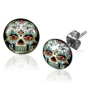 10mm Stainless Steel Day Of The Dead Dia De Los Muertos Skull Ear Studs (DDM1)