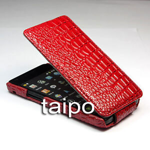 Crocodile Flip Leather Case Cover FOR SAMSUNG GALAXY S II S2 I9100 red