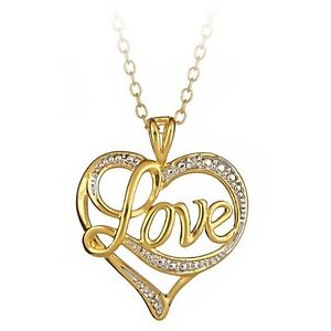 18K Gold over Sterling Silver Diamond Accent 'Love' Heart Pendant + 18