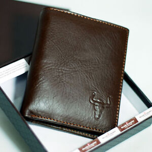 New-Mens-Genuine-Cow-Leather-Bifold-Wallet-Purse-with-Zipper-Coin-Slot