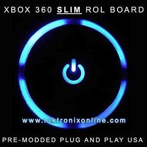 Xbox-360-Slim-Blue-Ring-of-Light-Board-RF-Module-Pre-Modded-ROL-Plug    Xbox 360 Slim Blue