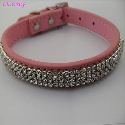 pink leather collar 3 Row flashing diamond pet collars on Rummage