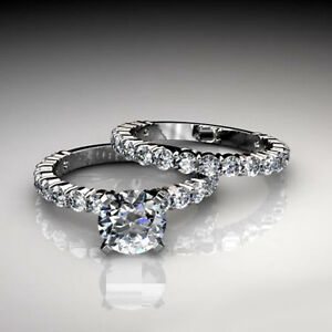 4.05Ct Round Cut Engagement Ring & Wedding Band Bridal Set 14K Solid Gold