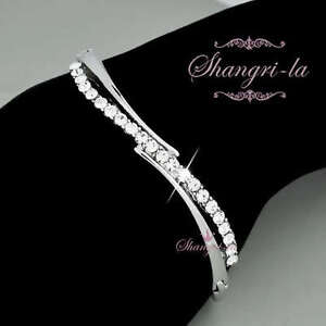 18K White GOLD GP Wedding Bridal BANGLE w/ SWAROVSKI CRYSTAL F056 SILVER