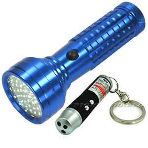 BLUE 51-LED FLASHLIGHT+BLACK 3IN1 LED&LASER&UV ULTRAVIOLET KEYCHAIN TORCH LIGHT