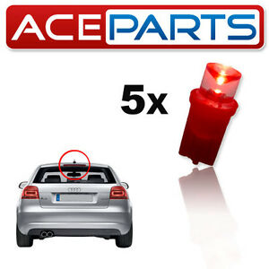 5x-Red-3rd-High-Level-Brake-Light-LEDS-501-W5W-T10-High-Power-Upgrade-Bulbs