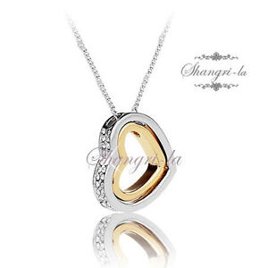 18K 18CT Two Tone GOLD GF Heart NECKLACE Genuine SWAROVSKI CRYSTAL X4101