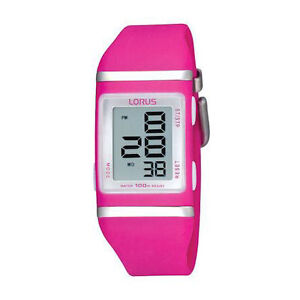 Lorus Girl's Sports Digital Watch 100 Mtrs Water Proof White, Purple, Dark Pink