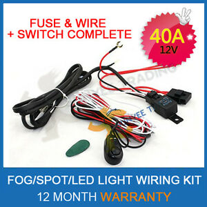 LED-HID-Spot-Work-Driving-light-bar-Wiring-Loom-Harness-12V-40A-Switch-Relay-kit