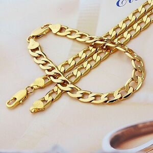 9k yellow gold filled Men's Bracelet+necklace 21.5