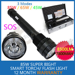 85W HID Xenon Torch Flashlight 7800mAh Outdoor Hiking Camping SECKIL 27W/24W LED