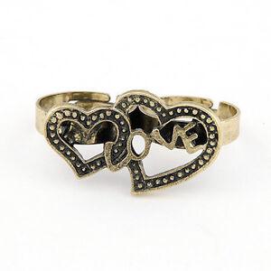 Vintage Bronze Love Heart Two Finger Double Rings Adjustable
